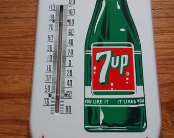 Advertising 7up Soda Porcelain Thermometer