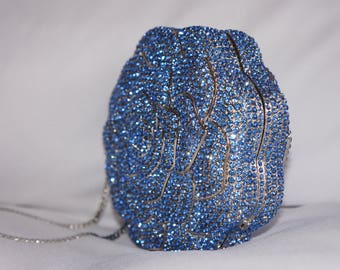 Blue Rose Crystal Clutch, Gift for her, Clutch, Evening Bag, Special Occasion Clutch, Party Clutch