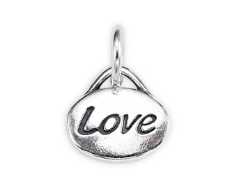 Sterling Silver Oval-Shape 'Love' Message Charm