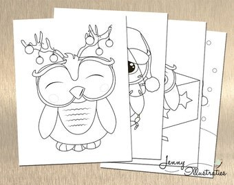 owl coloring page etsy on christmas coloring pages owl