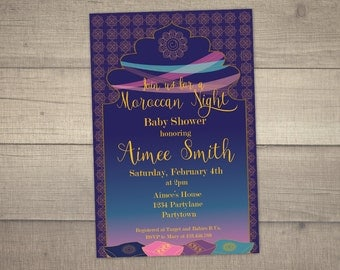 Moroccan Night Baby Shower, Moroccan Invitation, Arabian Nights Baby Shower, Baby Shower Invitation -with FREE Thank you card. Digital File
