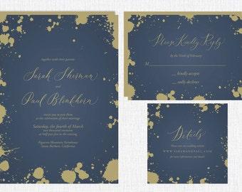 Custom Splatter Calligraphy Wedding Invitation