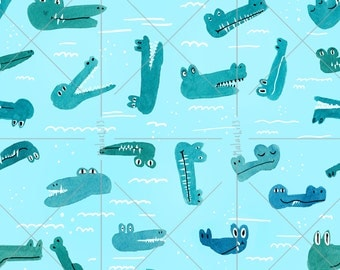 Cute crocodile Seamless Pattern