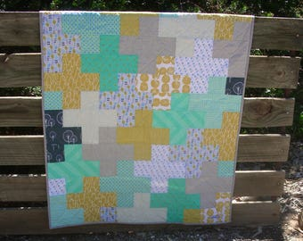 Free Shipping, handmade modern quilt, aqua, citrus and grey baby quilt, cross quilt pattern, Lotta Jansdotter fabrics.
