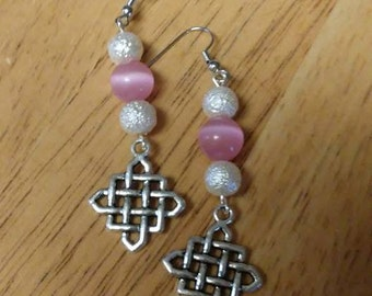 White & Pink Dangle Earrings