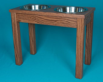 "Elevated Dog Feeder 16"", Two Stainless Steel 2 Quart Bowls,  Solid Oak Wood"