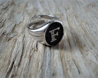 Silver ring oval with pave Crystal letters letter chavalier and whites adjustable