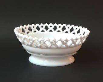 Vintage Open Lace Milk Glass Oval Bowl Westmoreland Doric White Glass Bridal Shower Wedding Decor