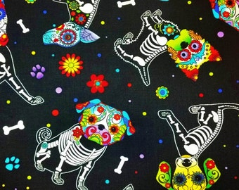 Day Of The Dead - Pups on Black Quilting Fabric - Fat Quarter or Yardage