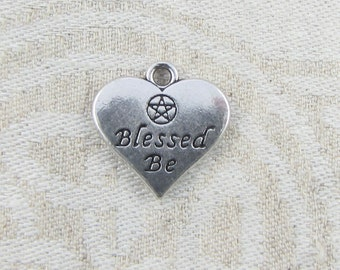"""Set of (4) Silver """"Blessed Be"""" Wiccan Charms, 4 per package  SYM093"""