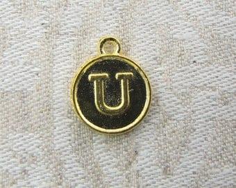 "Gold Medallion Letter ""U"" Charm, 1 or 5 letters per package ALF012u-GL"