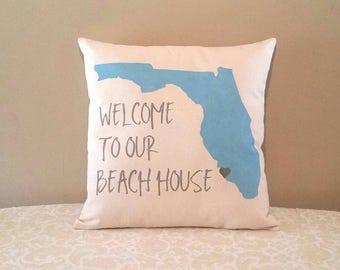 Beach House Pillow | Welcome to our Beach House | Beach Decor | Costal Decor | Customized Beach House Pillow | Beach lovers gift