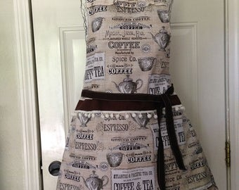 Full Apron- Women's Apron- Coffee Apron- Kitchen Apron- Coffee Print- Ruffle Apron- Handmade- Handsewn- Followurheartco-Classy Apron- DIY