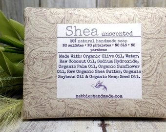 Shea Butter - Natural Soap - Organic Soap - Fragrance Free - Unscented - Natural Skincare - Vegan-Soap - Homemade Soap - Cold Process Soap