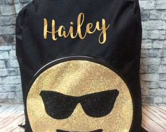 Personalized emoji smiley face backpack with any name 18 inches comic DC school backpack gift glitter name