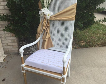 Special chair,wedding chair,big chair,white chair,white and gold chair,special occasion chair,queen chair,solid wood chair,refurbish chair