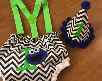 Blue and Green Chevron Monster Smash Cake Set - First Birthday, Suspenders, Diaper Cover, Party Hat, Cookie