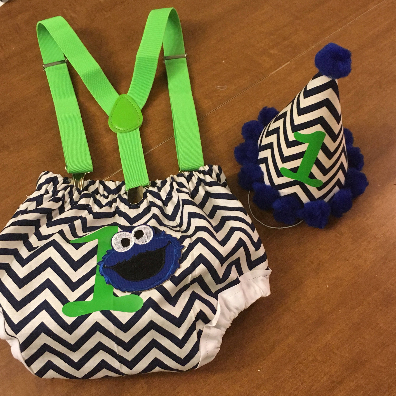 Blue And Green Chevron Monster Smash Cake Set