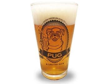 Pug Pint Glass