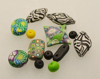 Assorted polymer clay beads