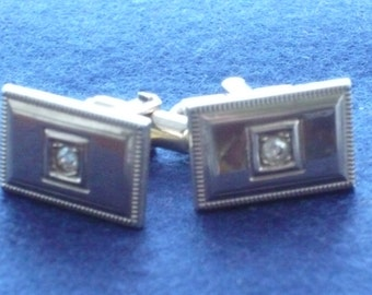 1960s Cuff Links - Oblong with a Faux Diamond made by Shields of Fifth Avenue