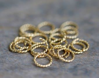 20 Pcs Gold Twisted Jump Rings, Destash, Delicate Jump Rings