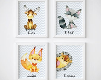 Woodland Nursery Decor, Woodland Nursery Art, Woodland Prints, Set of 4, Have Courage, Be Kind, Be Clever, Be Curious, Deer, Raccoon, Fox,