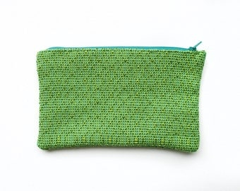 Green Optical Illusion Pattern Geometric Hand Woven Tapestry Pouch Coin Purse Makeup Bag