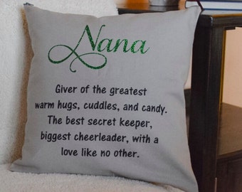 Custom nana pillow - Mother's Day gift - decorative pillow - personalized pillow cover - grandparent gift - pillow case - gifts for grandma