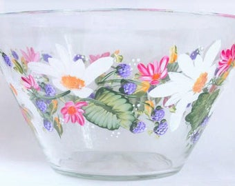 Salad Bowl Serving Bowl Glass Painted Daisies and Blackberries