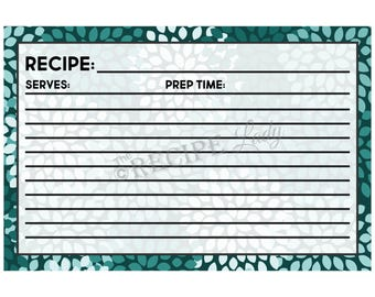 TEAL CHRYSANTHEMUMS 4x6 Recipe Cards - Printable; Instant Download, diy, Perfect for Bridal Showers