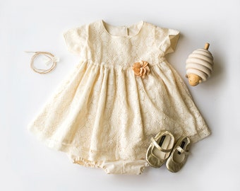Cream baby dress | Etsy