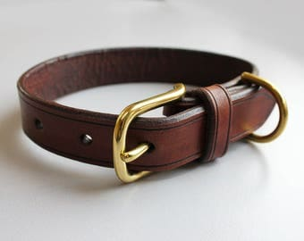 Handmade Leather Dog Collar - Brown, Dog Accessories, Pet Collar, Brown Dog Collar, XS, Small, Medium and Large Collar.