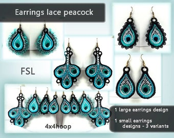 Earrings lace peacock No.192 - FSL - dentelle - designs - Machine embroidery digitze. /INSTANT DOWNLOAD