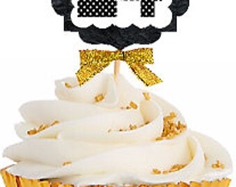 24th Birthday / Gold Ribbon with Polka Dot Numbers Cupcake Picks / Toppers -12ct.