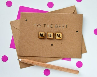 Personalised Mum Wooden Tiles Card - Card for Mum - Mother's Day Card - Step-Mum Card - Mummy Card