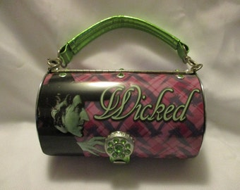 Vintage Wizard of Oz Wicked Witch metal cylinder purse