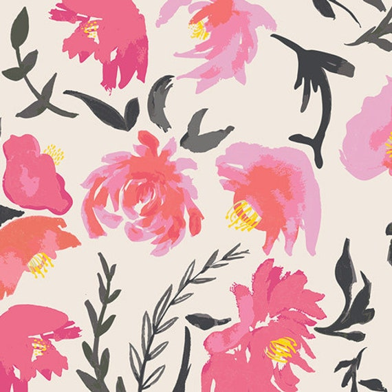 Changing Pad Cover >> Wonderful Things Aquarelle in Pink >> Made-to-Order pink floral changing pad, black peony flower changing pad, yellow