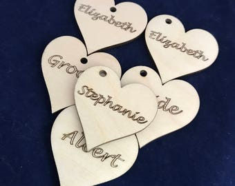 Wooden Heart Engraved Wedding Favour / Sanded Finish