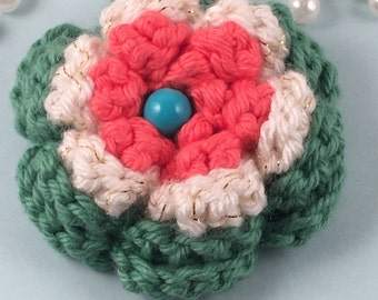 Brooch/Pin Orange White Crochet Flower