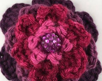 Purple Barrette Crochet Flower