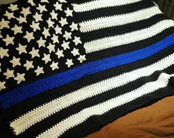 Thin Line Flag Blanket, Thin Blue Line Blanket, Thin Red Line Blanket