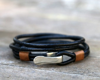 Leather wrap bracelet, mens leather bracelet,, mens jewelry, leather wristband,  best gift, armband herren