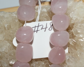 "8"" Strand of 10mm Smooth Tumbled Rose Quartz Nugget Beads #48"