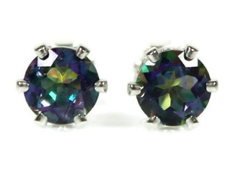 Mystic Topaz Earrings Round Rainbow Gemstones Mystic Topaz Stud Earrings 6MM 925 Sterling Silver Sister Gift Gift for Her Daughter Present