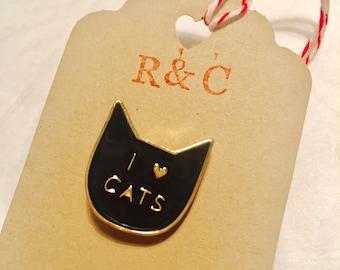 I love cats enamel lapel pin badge