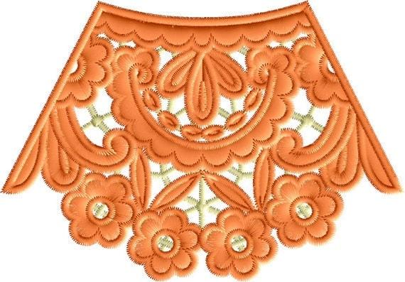 Stand Alone Lace Embroidery Designs : Neckline lace stand alone embroidery machine