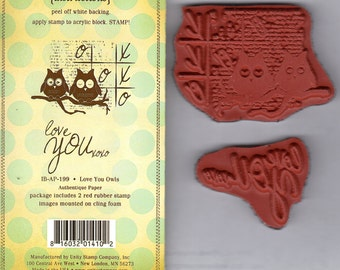 Love You xoxo Owls by Unity Stamps 2 red rubber art stamps - make cards and art around your home! NIP! Stamp Set Retired Discontinued