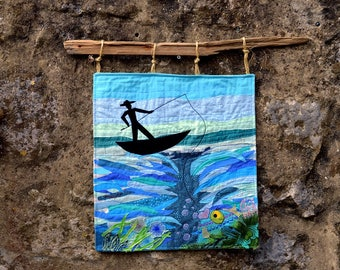 The fisherman, textile art, fibre art, wall hanging, home decor