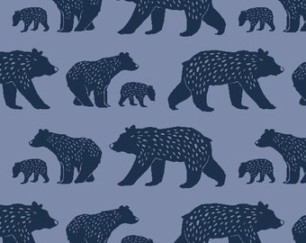 Modern Organic Material, Blue Bear Cotton Fabric, Quilting Weight, Woodland Theme, Monaluna Organic, Bear Family, By the Yard, Woodsy